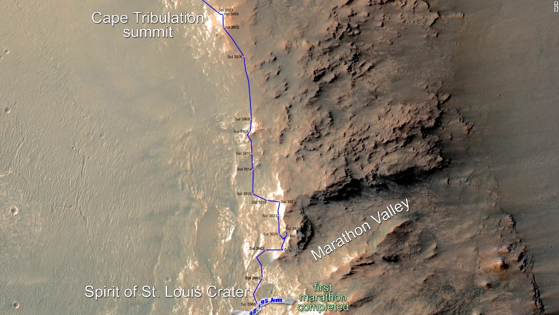 This map shows the southward path driven by Opportunity from late December 2014 until it passed marathon distance on March 24, 2015, during the 3,968th Martian day, or sol, of the rover's work on Mars.