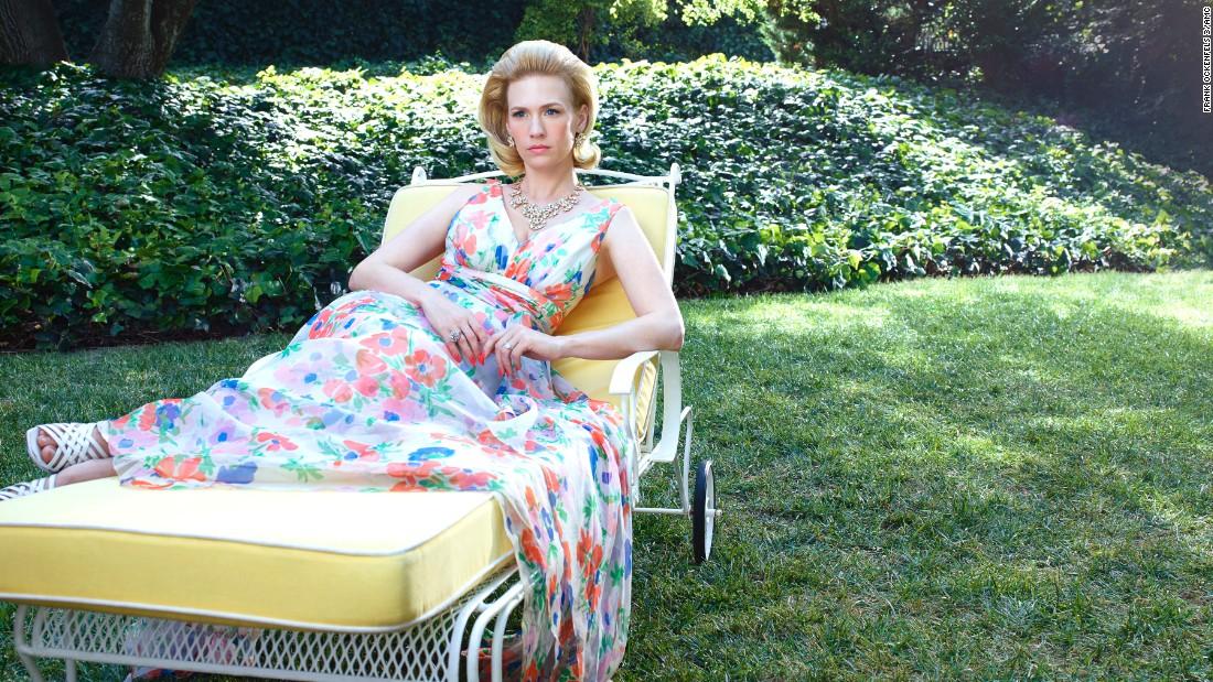 January Jones as Betty Francis wears a flowing dress in a season 7 promotional photo.