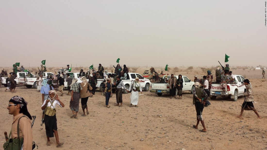 Thousands of armed Yemeni tribal members gather in the southern province of Shabwa on Monday, February 23.
