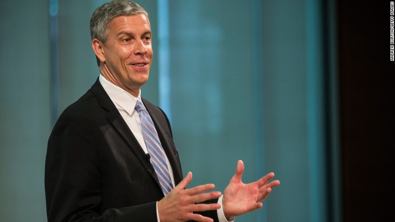 NEW YORK, NY - JUNE 16:  Arne Duncan, U.S. Secretary of Education, speaks at a press conference announcing that Starbucks will partner with Arizona State University to offer full tuition reimbursement for Starbucks employees to complete a bachelor's degree, on June 16, 2014 in New York City. The offer will be made to both full-time and part-time employees through online classes.  (Photo by Andrew Burton/Getty Images)