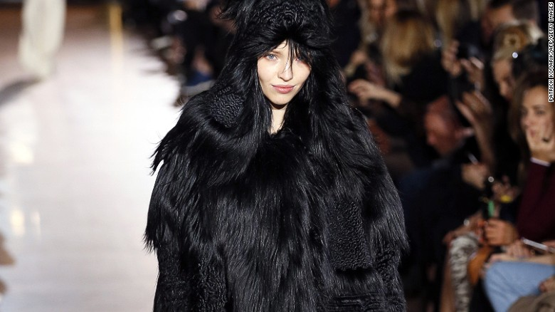 A faux fur coat from Stella McCartney's Autumn/Winter 2015 collection.