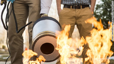 Two engineering students developed a fire extinguisher that works with sound waves.