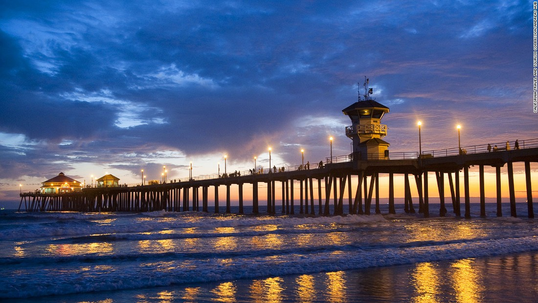 """Huntington Beach has been legally declared """"Surf City, USA."""" Beginners should avoid surfing near the pier though."""