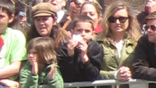 A closer view of 8-year-old Martin Richard in the crowd prior to the bombing.