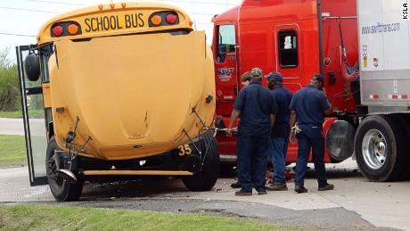 School bus hit by big rig