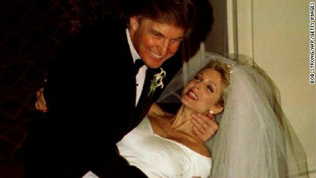 Donald Trump dips Marla Maples after the couple married in a private ceremony amid tight security at the Plaza Hotel December 20, 1993, following a six-year courtship.