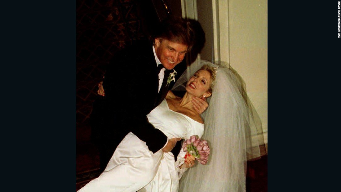 Trump dips Marla Maples after the couple married in a private ceremony amid tight security at the Plaza Hotel on December 20, 1993, following a six-year courtship.