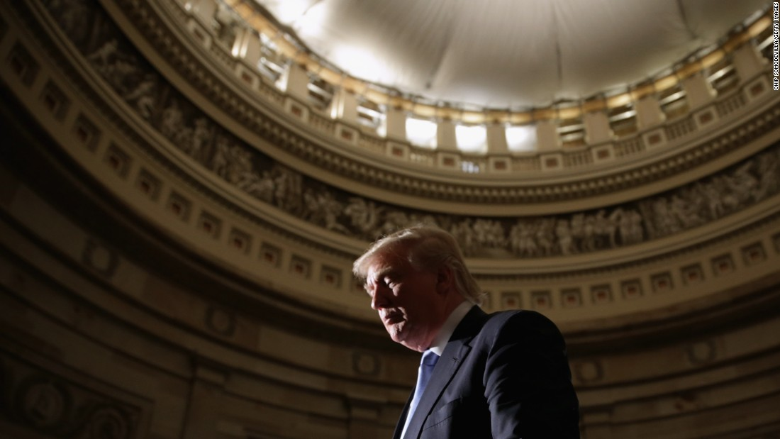 Real estate mogul and billionaire Donald Trump attends golf legend Jack Nicklaus' Congressional Gold Medal ceremony on March 24, 2015, in the U.S. Capitol Rotunda. Trump announced on March 18 that he has launched a presidential exploratory committee.