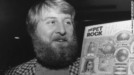 Gary Dahl, originator of the Pet Rock, holds Pet Rock items in 1976. Gary Ross Dahl, the creator of the wildly popular 1970s fad the Pet Rock, has died at age 78 in southern Oregon. Dahl's wife, Marguerite Dahl, confirmed Tuesday March 31, 2015 that her husband of 40 years died March 23 of chronic obstructive pulmonary disease. (AP Photo/San Francisco Chronicle, File) MANDATORY CREDIT