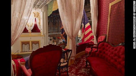 """Interior of the box at Ford's Theatre where Abraham Lincoln was assassinated. After Booth shot Lincoln he lept on the stage from Lincoln's box, breaking his leg. As he ran from the stage, some heard Booth shout sic semper tyrannus , which is Latin for """"thus always to tyrants""""."""