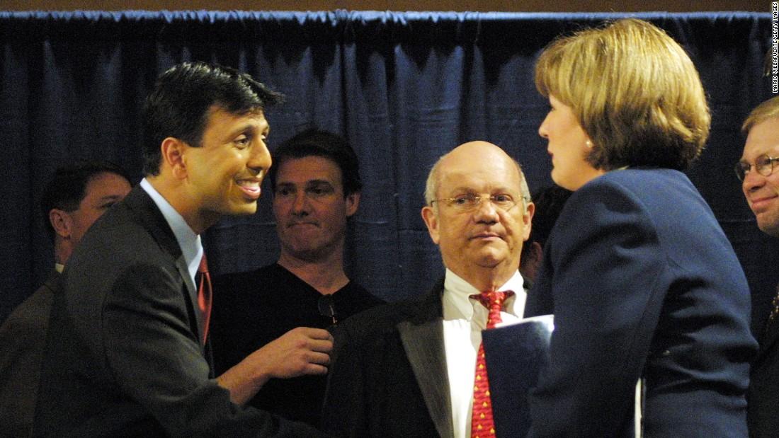 Jindal shakes hands with his Democratic opponent, Lt. Gov. Kathleen Blanco, at the Louisiana gubernatorial debate in 2003.