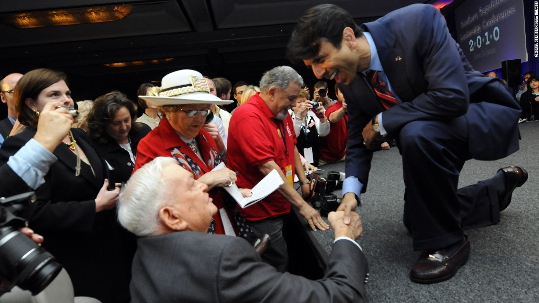 Jindal shakes hands with Marine Corps veteran Elmo Norton after speaking to delegates at the Southern Republican Leadership Conference in New Orleans on April 9, 2010.