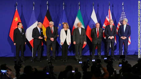 LAUSANNE, SWITZERLAND - APRIL 02: (L-R) Chinese Head of Delegation, French Foreign Minister Laurent Fabius, German Foreign Minister Frank-Walter Steinmeier, EU foreign policy chief Federica Mogherini, Iranian Foreign Minister Mohammad Javad Zarif, Russian Deputy Foreign Minister Vladimir Titov, British Foreign Secretary Philip Hammond, and US Secretary of State John Kerry speaks to the media following nuclear talks with Iran in Lausanne on April 02, 2015. (Photo by Thomas Trutschel/Photothek via Getty Images)