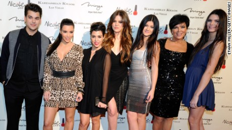 Television personalities Robert Kardashian Jr., Kim Kardashian, Kourtney Kardashian, Khloe Kardashian, Kylie Jenner, Kris Jenner and Kendall Jenner arrive at the grand opening of the Kardashian Khaos store at The Mirage Hotel & Casino December 15, 2011 in Las Vegas, Nevada.
