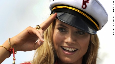 Victoria's Secret supermodel Heidi Klum arrives by yacht to the legendary Fontainebleau Miami Beach November 14, 2008 for the Victoria's Secret Fashion Show. The 54-year-old Resort in Miami is reopening this weekend for the taping of the Victoria's Secret TV fashion show will will be aired December 3, 2008 on CBS. AFP PHOTO / TIMOTHY A. CLARY (Photo credit should read TIMOTHY A. CLARY/AFP/Getty Images)