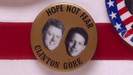 "A badge for the 1992 presidential election features the Democratic candidates Bill Clinton and Al Gore, with the slogan ""Hope not fear."""