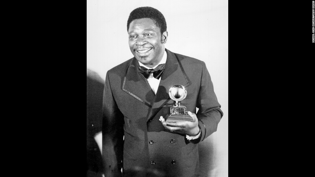 "King poses in 1971 after winning the Grammy Award for Best Male R&B Vocal Performance. He received the award for the song ""The Thrill Is Gone."""