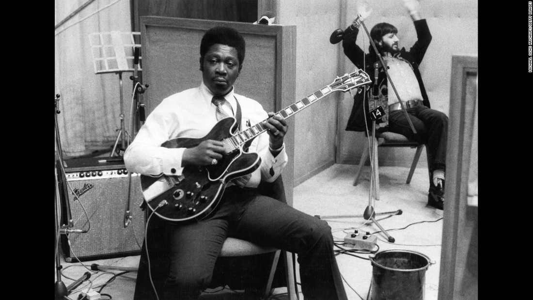 "King sits in a studio with drummer Ringo Starr during the recording of his album ""B.B. King in London"" in 1971."