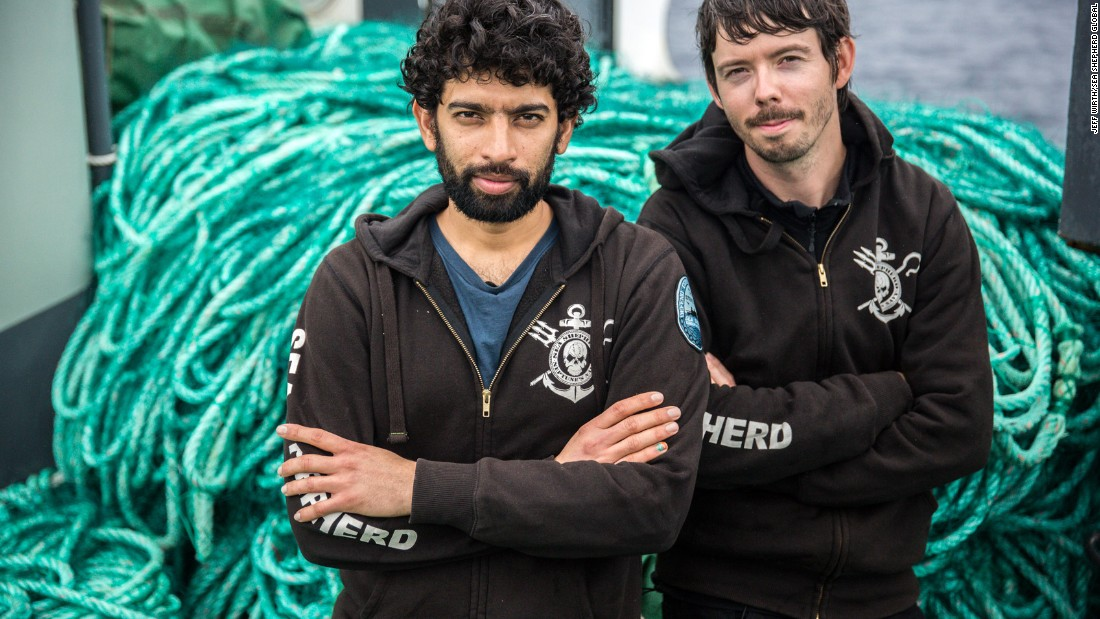 The leaders of Operation Icefish, Captains Sid Chakravarty and Peter Hammarstedt, in front of some of the 72 km of illegal gillnet Sea Shepherd alleges was abandoned by the Thunder after it was found fishing in the Southern Ocean. The conservation group claims about $3 million worth of toothfish was found in the nets.