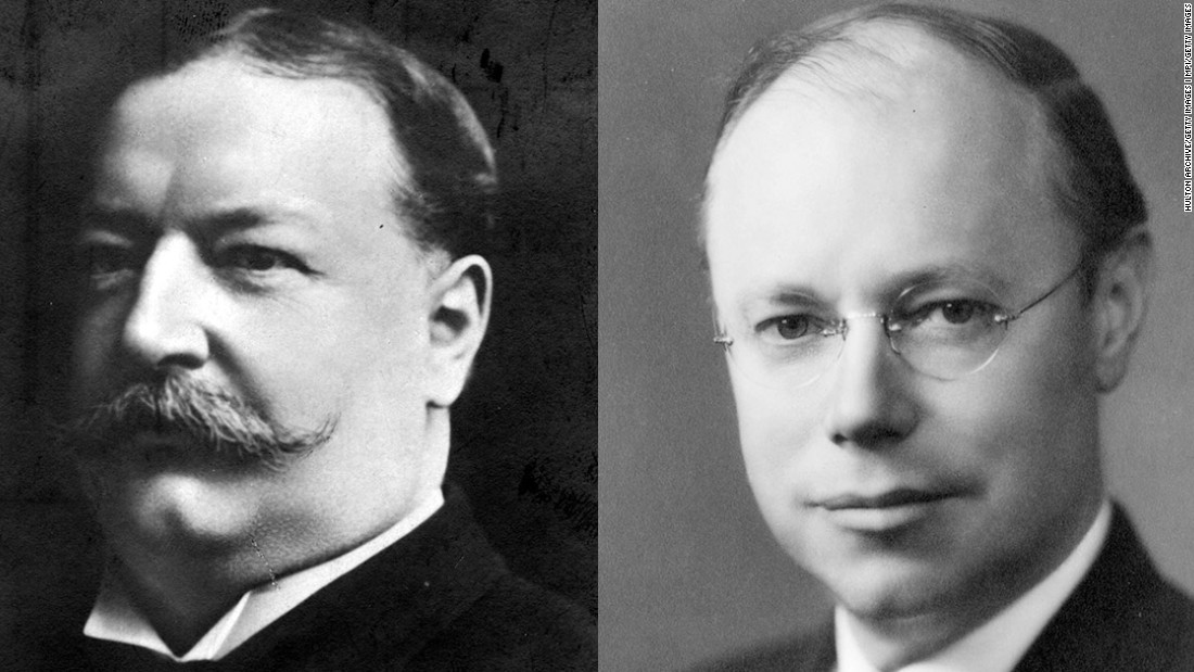 William Howard Taft (left) was elected president in 1908, and though he was only in office for one term, he later made history by becoming the first president to also serve as chief justice of the Supreme Court. His son, Robert Taft, was a senator from Ohio and sought the Republican Party's presidential nomination three times — in 1940, 1948 and 1952. Still, he was a major figure in GOP politics in the era.