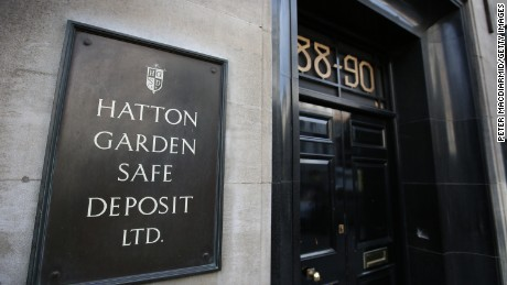 A sign denotes a Hatton Garden safe deposit centre on April 7, 2015 in London, England. Police are investigating a break in that occured over the Easter weekend. Local reports say that up to 300 deposit boxes may have been targeted.
