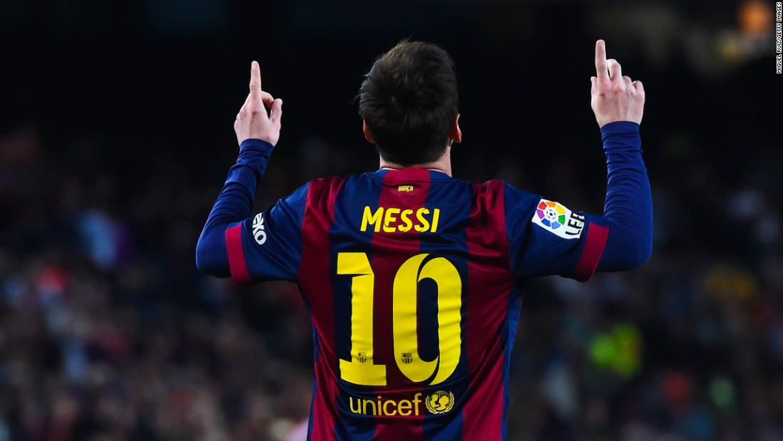 Messi hat trick celebration gif