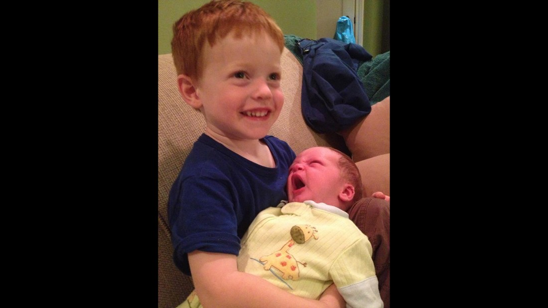 """""""It took several days for him to get anywhere near the new baby, and 10 days for him to hold his brother for three seconds before he handed him back to me and said, 'Mama, when is that baby going to get his own parents?'"""" -- Britten Nelson, Seattle, Washington"""
