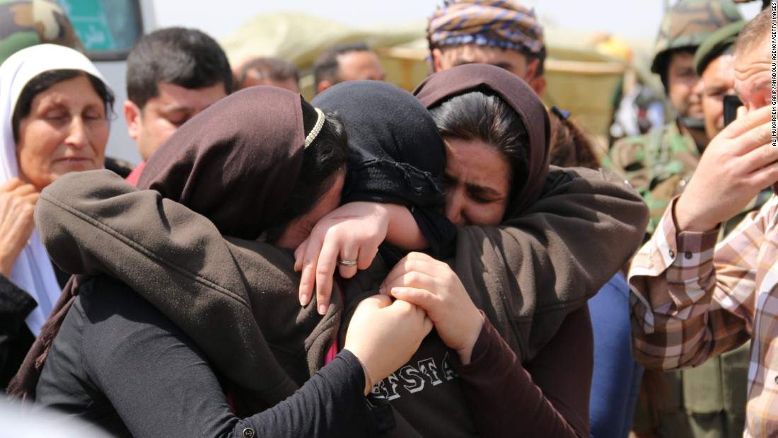 Yazidis embrace after being released by ISIS south of Kirkuk, Iraq, on Wednesday, April 8.lt;a href=quot;http://www.cnn.com/2015/04/08/world/isis-yazidis-released/quot;gt; ISIS released more than 200 Yazidislt;/agt;, a minority group whose members were killed, captured and displaced when the Islamist terror organization overtook their towns in northern Iraq last summer, officials said.