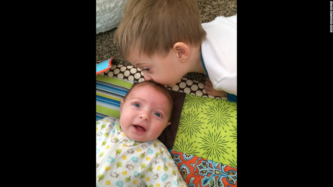 """""""The first few days he would cry and scream, 'I don't want Mommy to hold baby Brody!' He still has his moments, but he's accepted that Brody is sticking around."""" -- Sarah Hager, Louisville, Kentucky"""