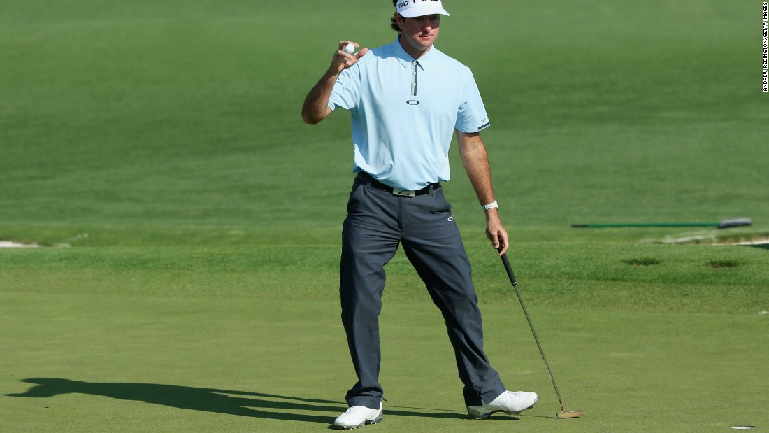 Defending champion Bubba Watson, aiming for a third title in four years at Augusta, celebrates a birdie at his second hole on Thursday.  The American finished with a bogey to card one-under 71 and be tied for 18th.