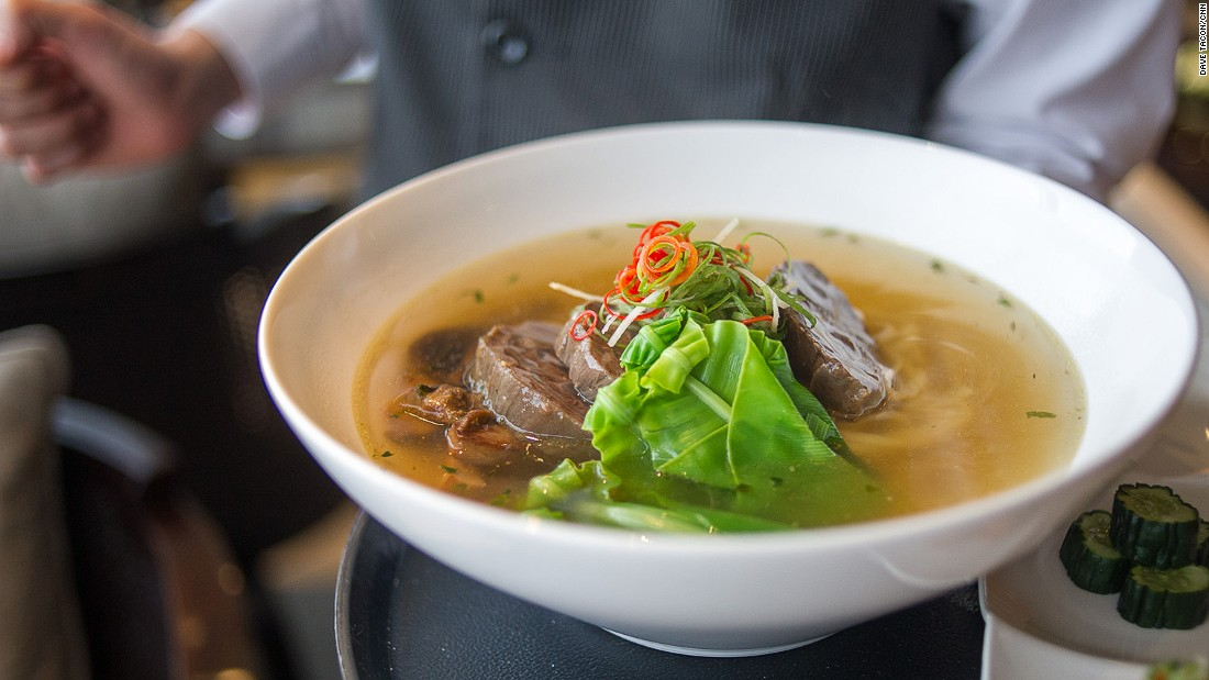 A bowl of beef noodles is the best way to dive into Taiwan's food scene. This version, served at the Regent Taipei, features beef slices alongside bird's nest fern -- a crunchy and slightly bitter green from Taiwan's mountains.