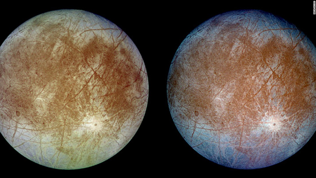 The trailing hemisphere (the side that faces away from its direction of motion) of Jupiter's moon Europa was captured by the Galileo spacecraft. The left image shows Europa in approximately true color and the right image shows Europa in enhanced color to bring out details. NASA data suggest that Europa has a subsurface ocean.