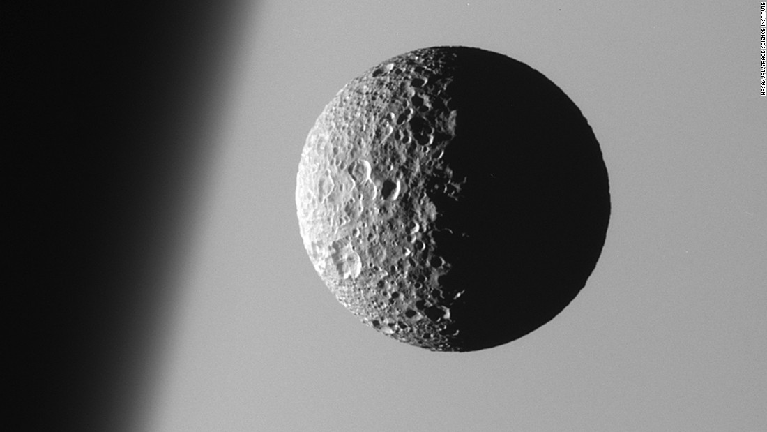 "Mimas, the smallest and closest of Saturn's eight main moons, is heavily cratered and has a low density that suggests it is mostly <a href=""http://saturn.jpl.nasa.gov/science/moons/mimas/"" target=""_blank"">composed of water ice</a>. The moon's main 88-mile-long crater makes it resemble ""Death Star"" from ""Star Wars Episode IV.""  <br />"