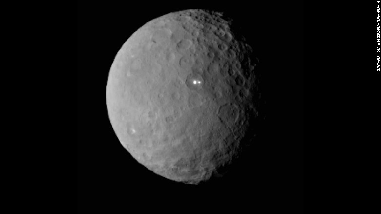 Dwarf planet Ceres, composed of rock and ice, is the largest object in the asteroid belt. <br />