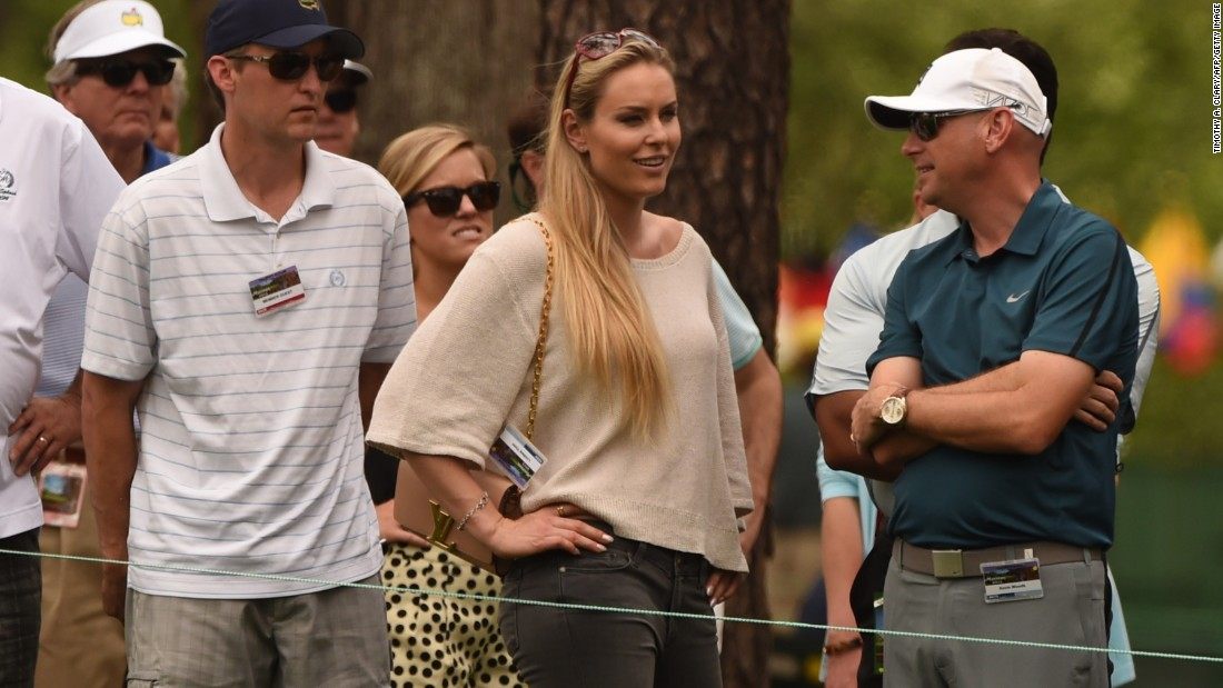 US Skier Lindsey Vonn watches boyfriend Tiger Woods during the 2nd round of the Masters Golf Tournament on Friday.