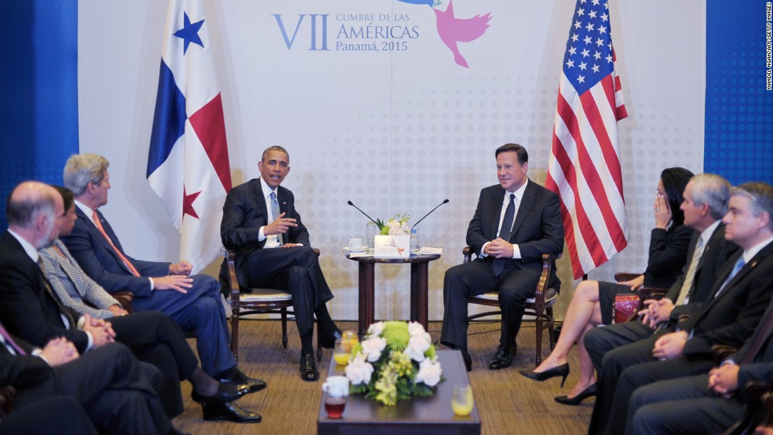 Obama holds a bilateral meeting with Panamanian President Juan Carlos Varela in Panama City on April 10.