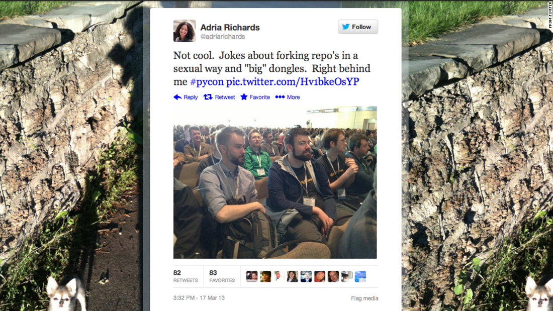 "Not long after Adria Richards posted this photo of two unnamed men at a tech conference, calling them out for a joke she overheard, the one on the left was fired. ""I did not mean to offend anyone,"" <a href=""https://news.ycombinator.com/item?id=5398681"" target=""_blank"">he apologized</a>. Then Richards was sent death threats, and her employer's servers were attacked. She was soon fired, too. <a href=""http://allthingsd.com/20130327/fired-sendgrid-developer-evangelist-adria-richards-speaks-out/"" target=""_blank"">In a statement, she said</a> that ""I want to be an integral part of a diverse, core group of individuals that comes together in a spirit of healing and openness to devise answers to the many questions that have arisen in the last week."""