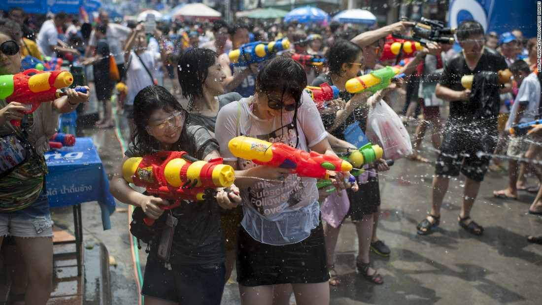 Revelers take part in a street battle during the Songkran festival on Khao San Road on April 13, 2015 in Bangkok, Thailand. Often referred to as the world's biggest water fight, the Songkran festival marks the traditional Thai New Year.
