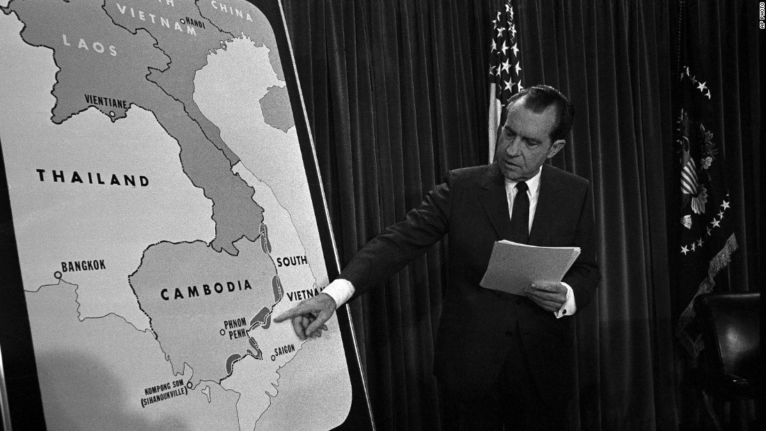 U.S. President Richard Nixon points to a map in the White House after telling the nation that American troops have attacked, at his order, a communist complex in Cambodia in April 1970. Nixon ordered troops to invade border areas in Cambodia and destroy supply centers set up by the North Vietnamese.