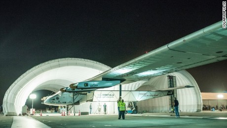 Solar-powered Solar Impulse 2 being rolled out of its inflatable mobile hanger at Mandalay airport, Myanmar to leave for Chongqing, China.