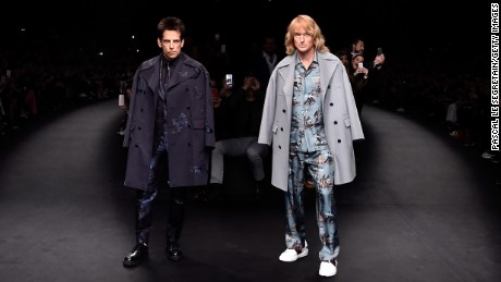 Caption:PARIS, FRANCE - MARCH 10: Derek Zoolander and Hansel walk the runway at the Valentino Fashion Show during Paris Fashion Week at Espace Ephemere Tuileries on March 10, 2015 in Paris, France. ZOOLANDER 2 will open in theaters in the U.S. on February 12, 2016. (Photo by Pascal Le Segretain/Getty Images For Paramount Pictures)
