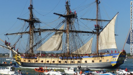 The Hermione is a replica of the historic ship of the same name that fought in the War of Independence.