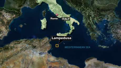Map of Italy with Lampedusa highlight