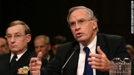 CIA Director Porter Goss (R) testifies before the Senate Select Intelligence Committee as Defense Intelligence Agency Director Lowell Jacoby (L) looks on at the Hart Senate Office Building on Capitol Hill February 16, 2005 in Washington, DC. Goss and others testified about threats against the U.S.  (Photo by Shaun Heasley/Getty Images)