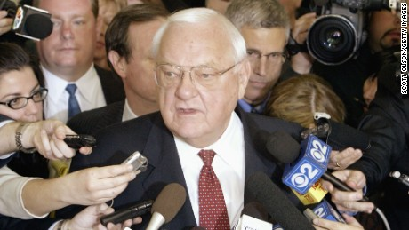 CHICAGO - APRIL 17:  Former Illinois Governor George Ryan speaks to the news media at the federal courthouse following a verdict of guilty on all counts in his corruption trial April 17, 2006 in Chicago, Illinois. (Photo by Scott Olson/Getty Images)