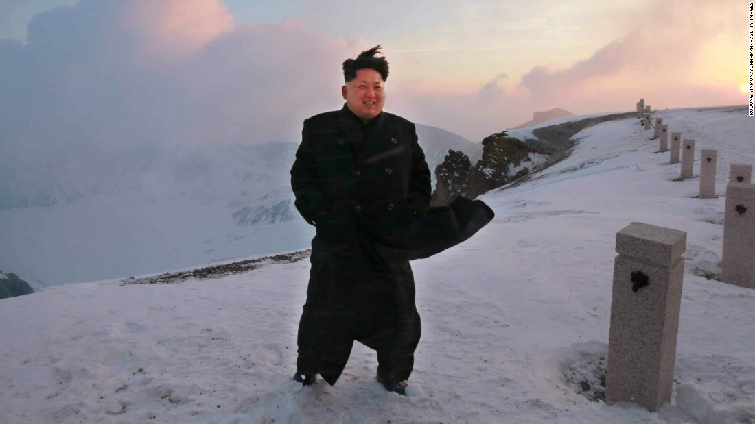 North Korean leader Kim Jong Un stands on the snow-covered top of Mount Paektu in North Korea in a picture taken by North Korean newspaper Rodong Sinmun on April 18 and released by South Korean news agency Yonhap on April 19. Kim scaled the country's highest mountain, North Korean state-run media reported, arriving at the summit to tell soldiers that the hike provides mental energy more powerful than nuclear weapons.