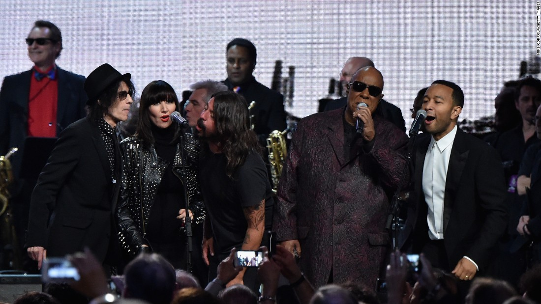 Entertainers Peter Wolf, Karen O, Tom Morrelo, Dave Grohl, Stevie Wonder and John Legend gathered for a performance of at the 30th Annual Rock And Roll Hall Of Fame induction ceremony.
