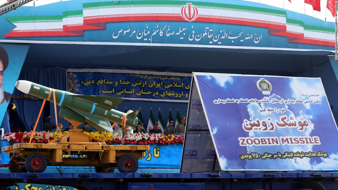 A Zoobin missile is exhibited during the parade.