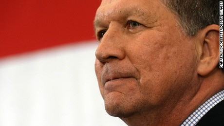 Ohio Gov. John Kasich prepares to speak at the First in the Nation Republican Leadership Summit April 18, 2015 in Nashua, New Hampshire.