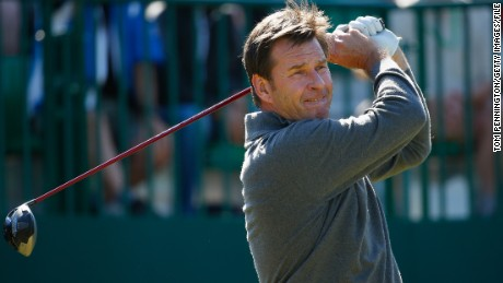 Sir Nick Faldo of England tees off during a practice round prior to the start of The 143rd Open Championship at Royal Liverpool on July 15, 2014 in Hoylake, England. (Photo by Tom Pennington/Getty Images